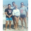 Rich Gaspari, Tom, Karen Close, Tom Deters at Venice Beach 1987